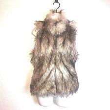 Ci Sono By Cavalini Womens Faux Fur Vest Hook Front Small J12