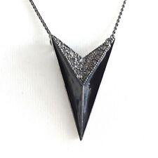 PILGRIM  Deco Vtg Style Black Diamante Pointed V Pendant Statement Necklace Gift