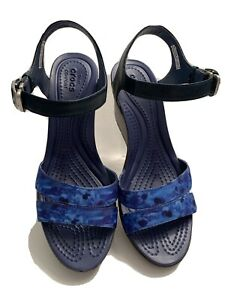 CROCS Womens Blue Wedge Sandals NEW 🌺 Size 7