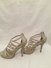 X2B stiletto high heel shoes Fashionable Straps Faux Stones Size 8 Zips In Back