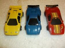 3- tyco slot car lamborghinis 440x2 chassis ho 1/64 afx scale,fast nice!!