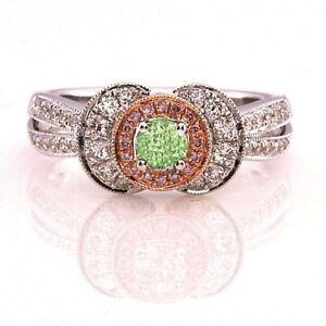 0.62ct Natural Fancy Green & Pink Diamonds Engagement Ring GIA 18K Chameleon