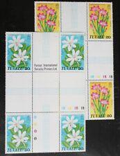 Tuvalu – CROSS GUTTER Blocks of 4 – Flowers – UM (MNH) (R3)