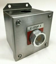"""SQUARE D 9001KYSS1 Stainless Steel Enclosure with 9001KA1 E-Stop 4""""x4"""""""