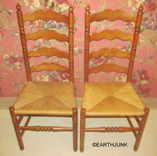 Tell City Set of 2 Ladderback Chairs Andover Maple Caned Reed Seat Side 2312