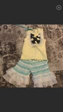 NWT Yellow Blue Lace Whales Nautical Baby Girl Outfit Set USA-18-24 Months