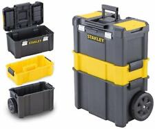 Large Tool Box On Wheels Rolling Mobile Work Centre Heavy Duty Storage Box Black