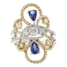Echte Diamanten-Ringe aus Gelbgold mit Saphir für Damen