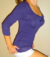 Banana Republic tuxedo ruffle womens purple sexy cotton knit shirt top small