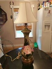 Huge Gorgeous Antique Hand Painted &Signed Table Lamp