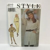 Uncut Style Sewing Pattern 2310 Size A Misses Dresses Loose Fit Front Opening
