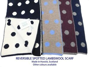 Spotted Reversible Pure Lambswool Scarf - Made in Hawick, Scotland