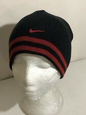 NIKE Beanie YOUTH/JR Kids One Size Reversible Solid/Striped Logo Red/Black