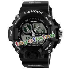 Noir Etanche LED Digital Alarm Date Wrist Watch Mens Sport Analog Watch