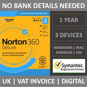 Norton 360 Deluxe 2021 3 Devices 1 Year Subscription Internet Security Antivirus