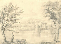 Mary Anne Baignis - c. 1825 Graphite Drawing, Castle by the Water