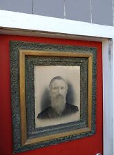 Large 19th Century Antique Man Photograph Ornate Wood Frame Peter Sherrick Ohio