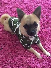 Chihuahua Size XSmall Green Army Camouflage Hoodie Top Jumper Pet Dog Clothes