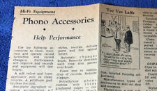 Hi-Fi EQUIPMENT PHONO ACCESSORIES ORIGINAL NEWSPAPER CLIPPING WRITE-UP AD M550x