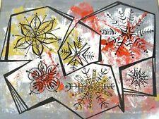 Mid Century Modern Painting MCM Snowflakes Signed DZIBINSKI 1958