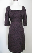NOUGAT LONDON Purple Black Abstract Floral Pencil Silk Dress sz 1 Small