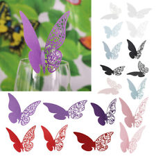 50pcs Cup Hollowed-out Butterfly Pearlescent Card Wine Glass Party Wedding Decor