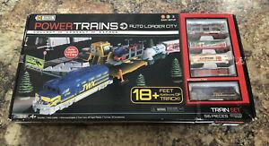 Power Trains Auto Loader City 56 Pieces Set,18ft.  Complete,Auto Loader & 4 Cars