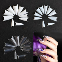 500Pcs/Set Nail Art Natural Sharp Stiletto Long Claw French False Fake Nails Tip