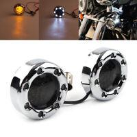 2pcs 1157 Chrome Fire Ring Amber LED Turn Signal Light for Harley Bullet Housing