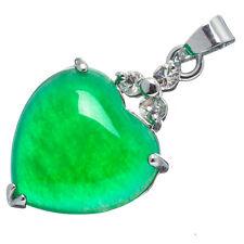Chinese Emerald Green Jade Jadeite 18K White Gold Plated Heart Pendant #009