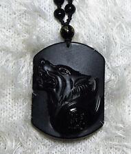 Obsidian Wolf geschnitzt Halskette Obsidianperlen