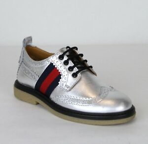 New Gucci Boy Children's Silver Metallic Leather Dress Shoes 433130 8165