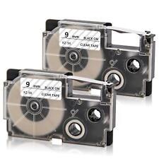 XR-9X Label Tape Black on Clear Compatible Casio 9mm Cartridge KL-120 KL-750 2PK