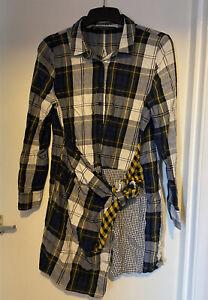 ZARA Trafaluc Check Plaid Print-Clash Tie Waist Shirt Dress Button Up Autumn M