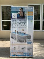 INTEX 16ft x 9ft x 42in Prism Frame Oval Above Ground Swimming Pool W/ Pump