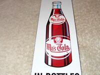 """VINTAGE DRINK MA'S COLA IN BOTTLES 10"""" PORCELAIN METAL MOM SODA POP GAS OIL SIGN"""
