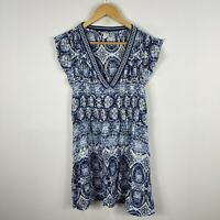 Volcom Womens Dress Small 10 Petite Blue Textile Short Sleeve V-Neck Boho