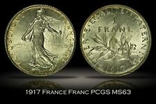1917 France One Franc PCGS MS63 Bright Lustrous Beautiful Classic Sower Design