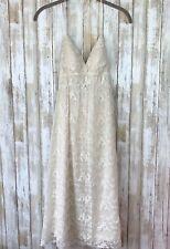 Sue Wong Ivory Embroidered Lace Halter Top Summer Boho Wedding Dress 2 VTG