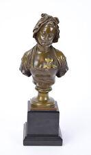 Antique Eugene Laurent French Bronze Bust Contemplative Woman Empire Dress