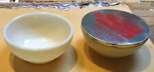 2  Fire King Sealtest ivory Cottage Cheese Bowls - 1 metal lid