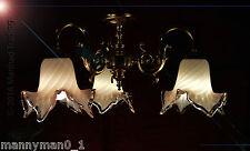 SPLENDIDA ITALIANA 1970s tre-BRACCIO LAMPADARIO VETRO PESANTE CON MONTANTE murano tonalità