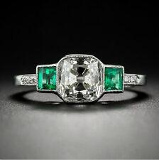 Delicate 925 Silver White & Green Topaz Brand Wedding Anniversary Ring SZ:10