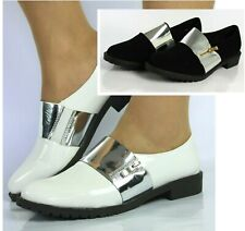 NEW LADIES WHITE BLACK FLAT LOW HEEL WOMENS BROGUES LOAFERS CREEPERS SIZES 3-8