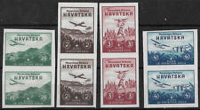 More details for croatia 1942 airmail imperforated set in pairs mint cs.4