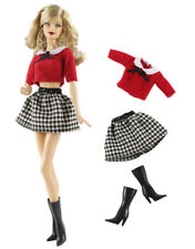 3in1 Set Outfit Top+skirt+boots FOR Barbie Doll Clothes Girl Gift
