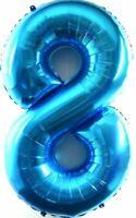 XXL 1 Mètre Énorme Helium Nombre 8 Ballon Feuille Bébé Bleu Anniversaire 100cm