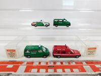 CK965-0,5# 4x Wiking H0/1:87 Polizei-/Feuerwehr-Modell: 607 MB + 109 VW etc NEUW