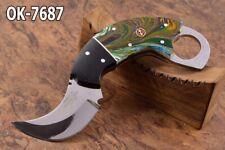 """6.7"""" KMA CUSTOM 52100 BEARING STEEL FULL TANG COMBAT SKINNER BLADE KNIFE OK-7687"""
