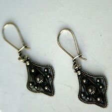 Antique Greek Filigree Earring Solid Sterling Silver 925 Code 258